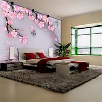 Wallpaper mural peach blossom pink sofa tv background wall