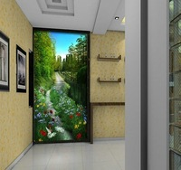 Mural rustic natural flowers and entrance sofa background wallpaper 3d stereo