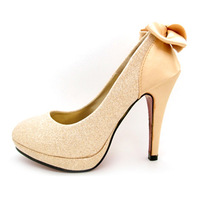 satin gold bow wedding shoes small 1 - high-heeled shoes the bride married accessories