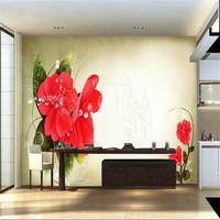 Mural wallpaper tv festive red flower