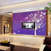 Mural tv wall abstract sofa purple pachira wall wallpaper