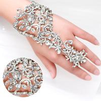 bracelet sweet rhinestone married with chain ring jewelry wedding accessories