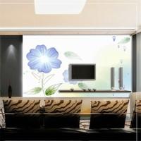 Mural tv background wall wallpaper tv wallpaper wall stickers blue flower