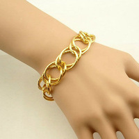Min.order is $10(mix order) Accessories fashion personality exquisite gold double layer chain bracelet