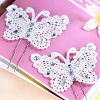 lace sparkling diamond butterfly hair stick accessories hair accessory wedding hair accessory the wedding hair