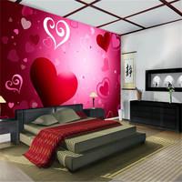 Mural wallpaper tv wall background wall mural wedding heart pattern