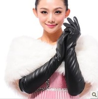 Free shipping! Autumn and winter women's long design genuine leather thin sheepskin gloves fashion leather gloves repair