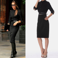 Free shipping Fashion victoria 2013 autumn stand collar epaulette slim hip slim one-piece dress