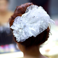 th029 lace white hair accessory rhinestone wedding dress hair accessory feather gauze the wedding hair accessory