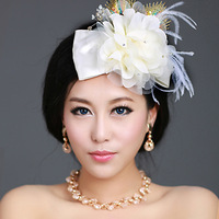 peacock champagne color flower hair accessory rhinestone the wedding hair accessory feather wedding dress hair