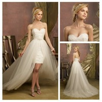 Free Shipping Tulle And Lace Sweehteart Short Front Long Back Wedding Dress Wholesale