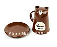 Wholesale mini order $10 (mix order) Freeshipping (small size) Carton milk tea bear breakfast cup, milk coffee cup mug with tray