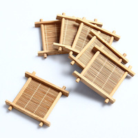 6pcs natural bamboo kung fu tea cup pad coaster,gong fu teapot mat,table cup holder saucer,free shipping