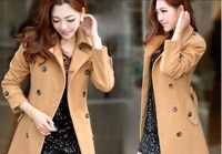 Free shipping double breasted OL style elegant thickening women wool coat for winter M L XL