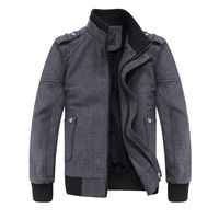 Ofdynamism season male slim pure grey woolen stand collar thickening jacket wadded jacket outerwear 1131