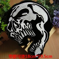 Wholesale&Retail,Embroidery fabric patch with sticker,Punk style,Skull design,Big size
