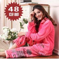 Free shipping 2013 autumn and winter long-sleeve women's cartoon coral fleece sleepwear set lounge