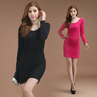 Slim long-sleeve basic skirt plus size mm one-piece dress all-match women's