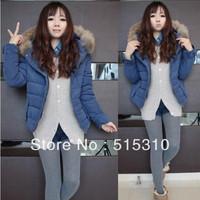 2013 women's thickening fur collar cotton-padded jacket slim cotton-padded jacket female winter short design wadded jacket