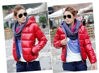 2013 New arrival free shipping women hooded warm down coat slim feather jacket for ladies 4 colors M L