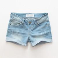 Fashion women's mid waist light blue denim shorts hot trousers female
