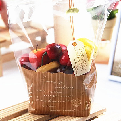 S&S Cookie packaging leaf with printed tag flat frosted plastic bags snack baking package gift bag 40pc/lot 18x24x7cm(China (Mainland))