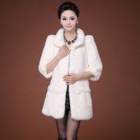 fur fox coat women real fur Marten overcoat female medium-long white mink fur coat 2013  women winter parka real fox fur