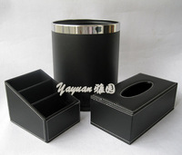 Fashion storage piece set leather tissue box remote control box double layer rubbish bucket home storage box