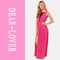 Free shipping Ladies Specials Pull the Plunge Fuchsia Maxi Dress LC6179