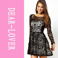 Free shipping Ladies Specials Long Sleeves Lace Skater Dress cute casual dress LC2961
