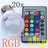 Free shipping 20pcs  2013 new 5W E27 RGB 16 Colors LED Light Bulb Lamp Spotlight 85-265V with 24keys IR Remote Control