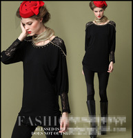 European and American Plus Size Rhinestone Lace Decoration Fashion Long Sleeve Under Shirt from L to 5XL