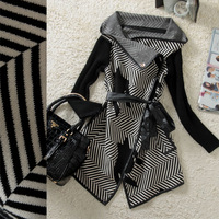Free shipping 0903 fashion stripe slim wool outerwear women coats 2013 15c019