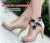 fashion women short boots sexy flower women boots 100% genuine leather boots spring/autumn women large size shoes fee shipping