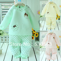 Free shipping Bamboo fiber baby  newborn cute clothes child underwear set thickenning winter warm baby pajamas