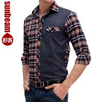 Autumn men's clothing long-sleeve shirt male patchwork color block sanded plaid shirt