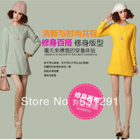 Korean ladies wind Joker Barret slim fit long sleeve dress