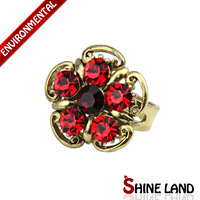 Free Shipping Mix Color Wholesale Women Fashion Ethnic Crystal Flower-Shaped Statement  Adjustable Rings Jewelry