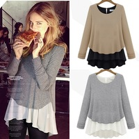 2013 autumn o-neck colorant match basic gentlewomen 2 piece set T-shirt long-sleeve shirt fashion women's