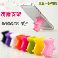 Candy color shote  for apple    for iphone   5 belt mobile phone holder lanyards with dust plug t17
