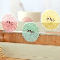 Black korea stationery quality circle cutout lace transparent stickers mobile phone stickers o07