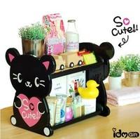 Black cartoon animal home double layer plastic finishing shelf storage rack w11