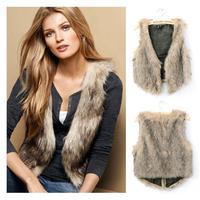 New 2014 Autumn winter Hot selling Women Elegant Fashion Vintage Trendy Celeb Faux Fur Waistcoat Vest Coats Tops