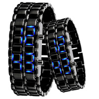 2013  Free shipping  FASHION LED Watch SHARP Lava Style Iron Samurai Metal