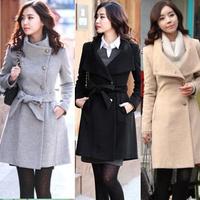2013 autumn and winter women slim woolen overcoat medium-long thickening woolen outerwear female