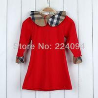 Free shipping 2014 girls autumn clothing fashion baby girls  plaid full dress girls cotton  dress 4 colors  1-5yeas old