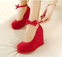 Free shipping sweet bow platform cow muscle outsole wedges red wedding shoes  831 - 2