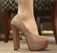 Free shipping 2013 hot sale european star style sequined cloth designed high heel pumps b3132