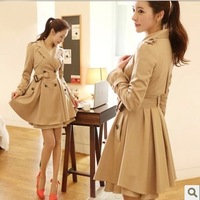 2013 medium-long lacing slim ol elegant double breasted trench women's outerwear
