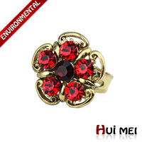Free Shipping Mix Color Wholesale New Fashion Flower-shaped Colorful Rhinestone Statement Vintage Rings SR003